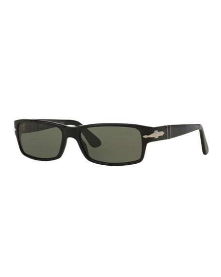 Persol Men's Polarized Rectangle Solid Acetate Sunglasses