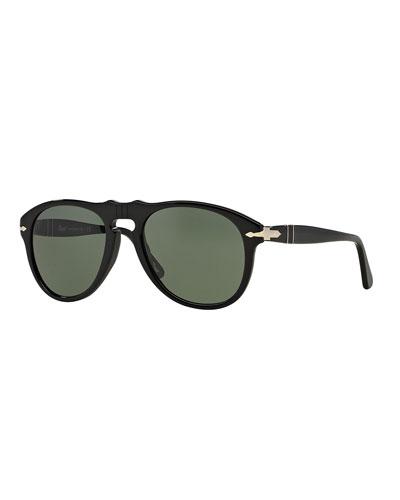 Men's Aviator Solid Acetate Keyhole Sunglasses
