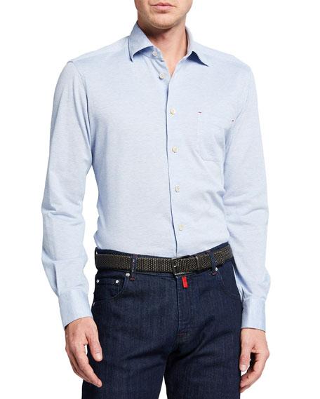 Kiton Men's Solid Pique Pocket Sport Shirt