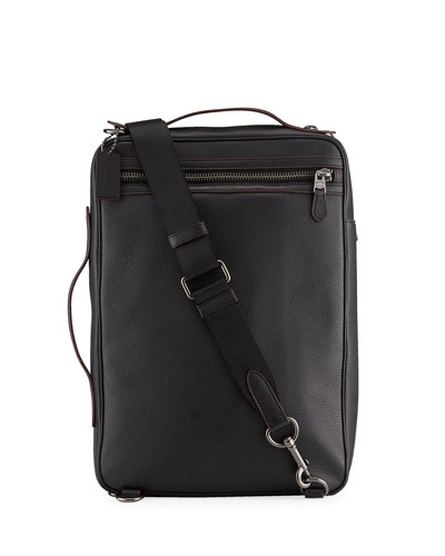 Men's Soft Pebbled Leather Convertible Backpack