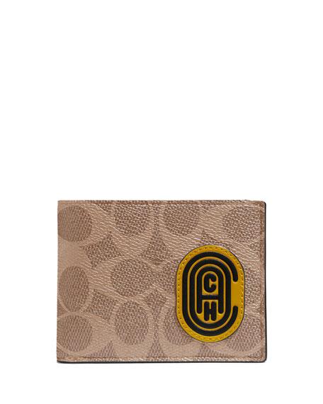 Coach Men's Signature Canvas Slim Leather Wallet
