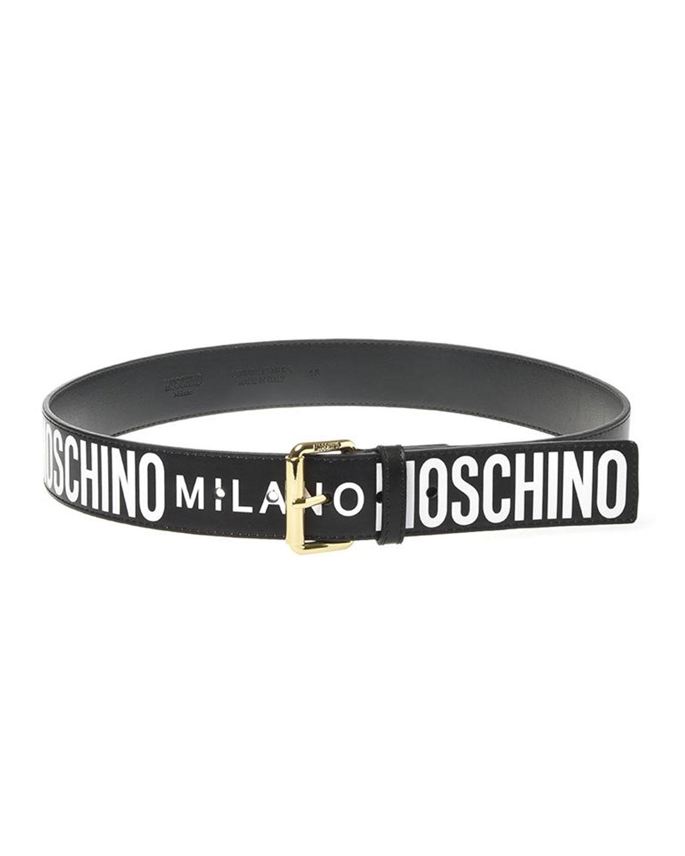 Moschino MEN'S LOGO-PRINT LEATHER BELT