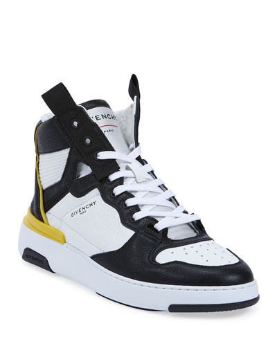 Men's Wing Two-Tone Leather High-Top Sneakers