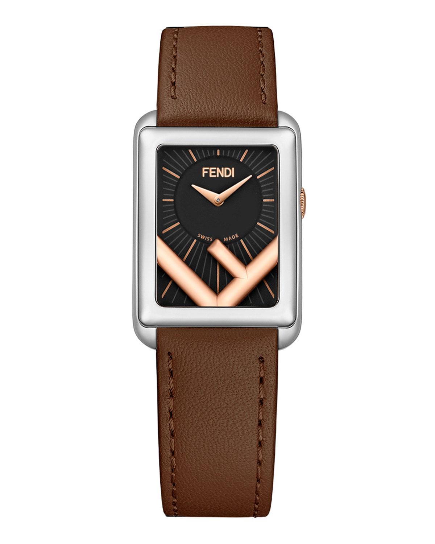 Men's Rectangular F-Dial Leather Watch