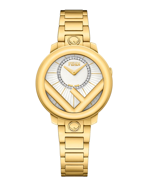 Men's 28mm Yellow Gold IP Bracelet Watch w/ Diamonds