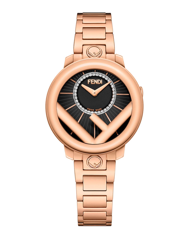 Men's 28mm Rose Gold IP Bracelet Watch w/ Diamonds