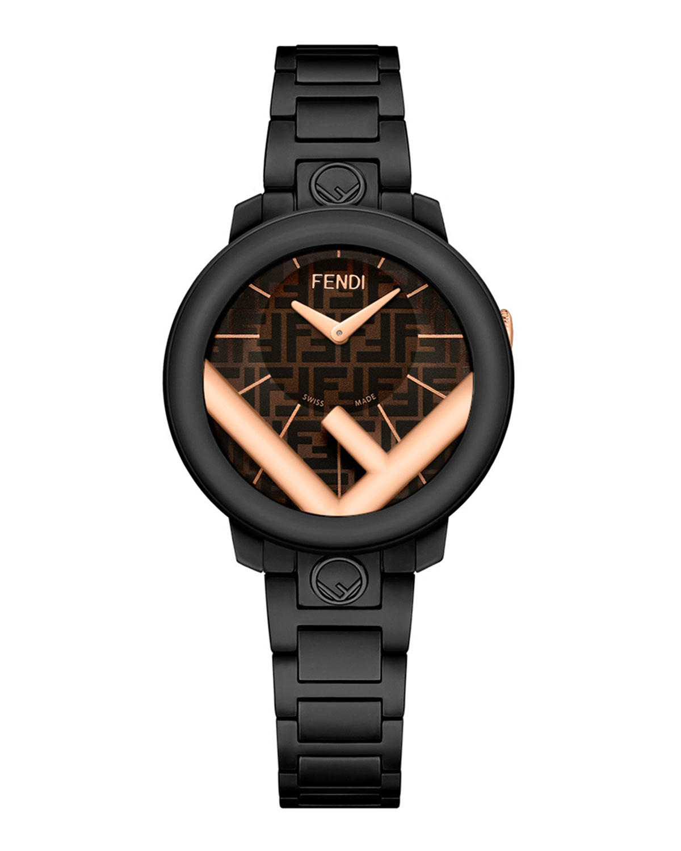Men's 28mm IP Black Bracelet Watch w/ FF Motif