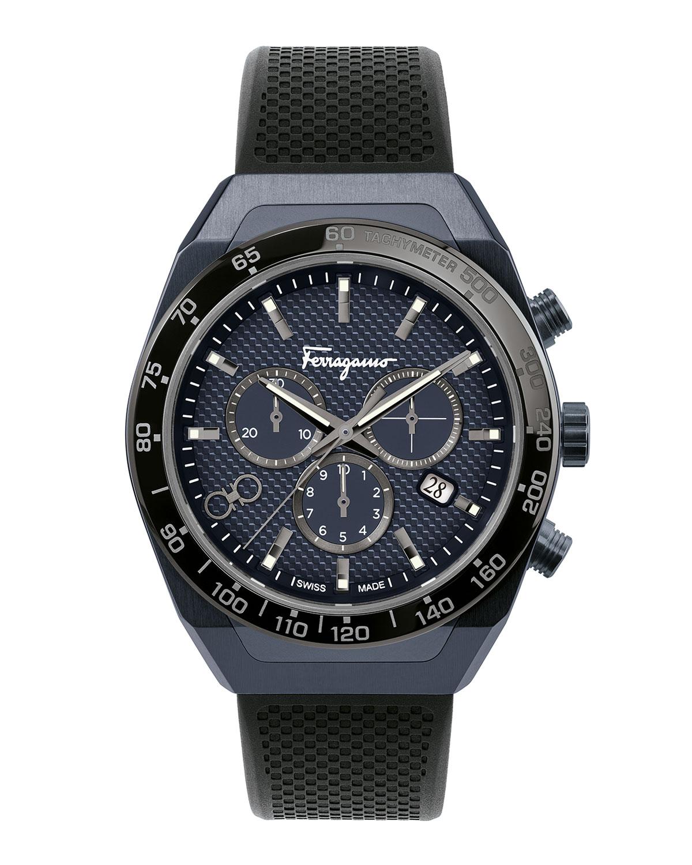 Men's 43mm Chronograph Watch w/ Rubber Strap