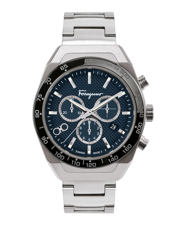 Men's 43mm Chronograph Stainless Steel Bracelet Watch