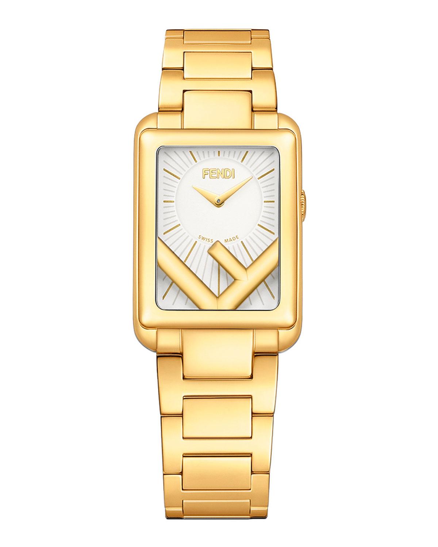 Men's Rectangular IP Yellow Gold Bracelet Watch