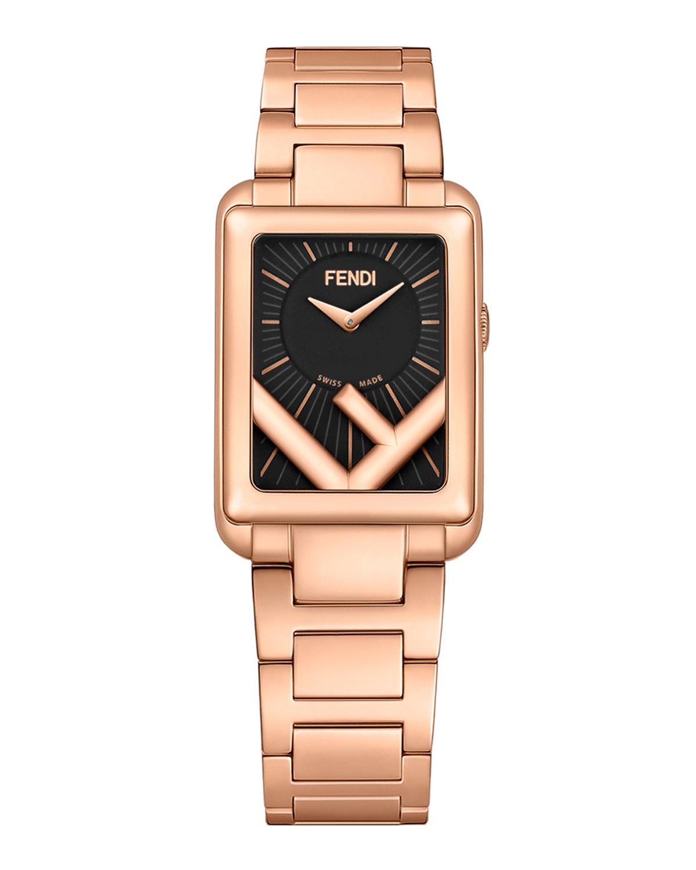 Men's Rectangular IP Rose Gold Bracelet Watch