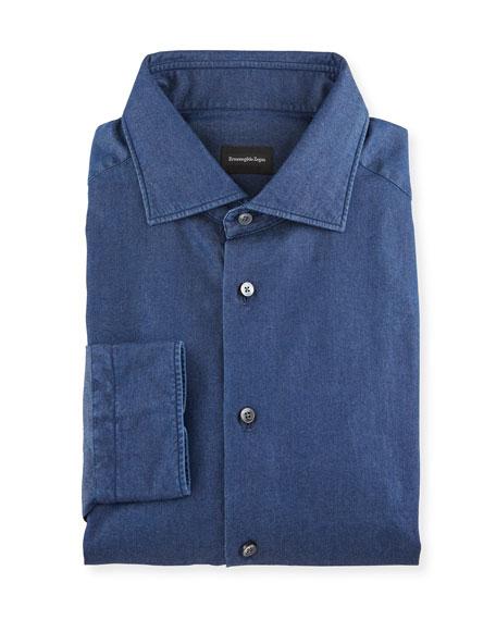 Ermenegildo Zegna Men's Dark-Wash Denim Dress Shirt