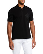 Fendi Men's Pique Polo Shirt w/ Mesh FF