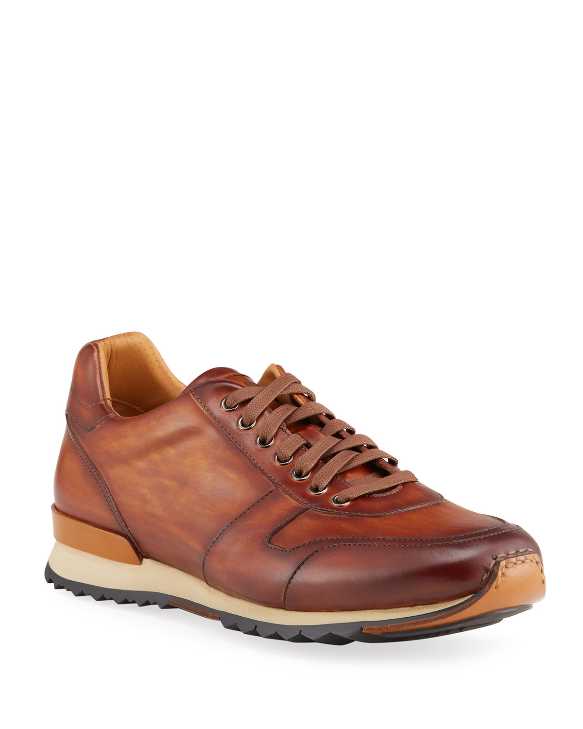 Men's Urano Burnished Leather Lace-Up Sneakers