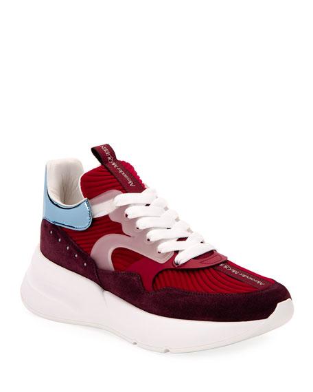Alexander McQueen Men's Suede Platform Sneakers w/ Metallic Collar