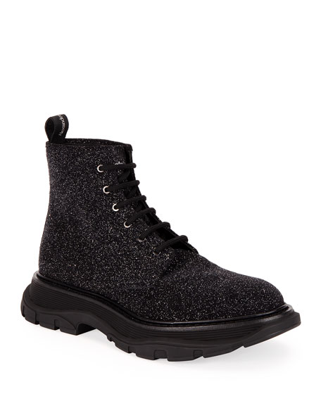Alexander McQueen Men's Leather Glitter Ankle Boots