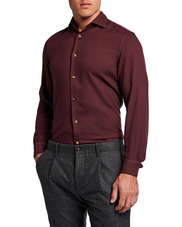 Men's Solid Cotton-Blend Sport Shirt