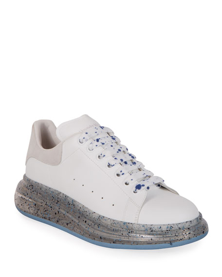 Alexander McQueen Men's Speckled-Sole Leather Sneakers