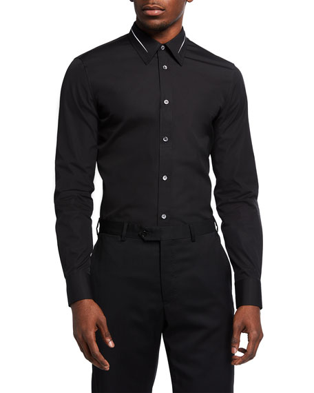 Alexander McQueen Men's Cotton Poplin Slashed Sport Shirt