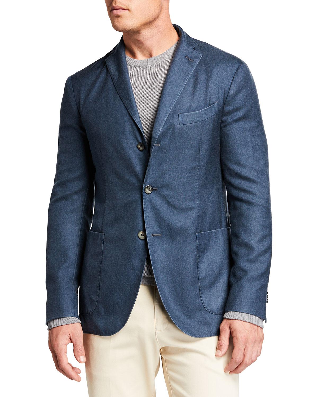 Men's Slate Solid Cashmere-Silk Blazer