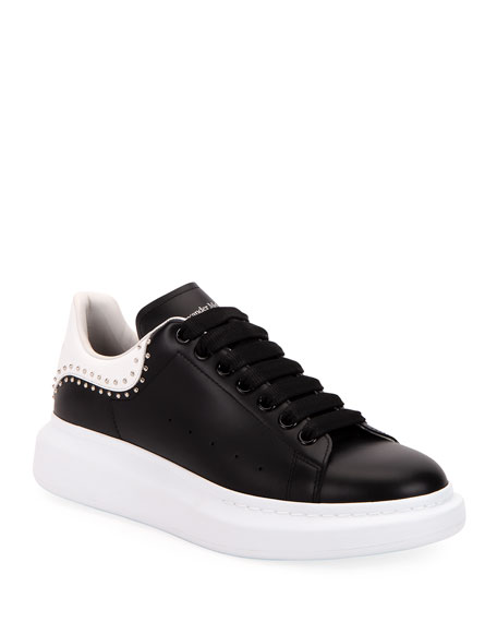Alexander McQueen Men's Studded Two-Tone Leather Sneakers