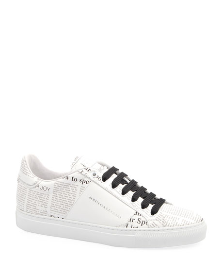 John Galliano Paris Men's Gazette Leather Low-Top Sneakers