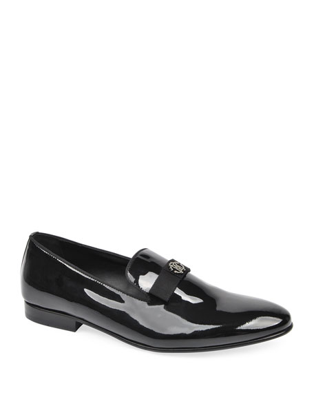 Roberto Cavalli Men's Patent Leather Loafers w/ Bow