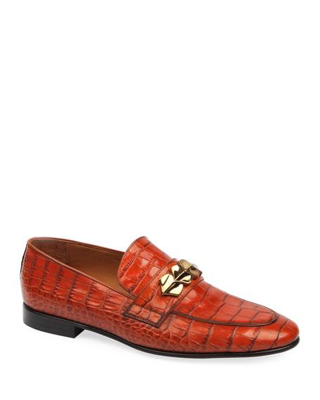 Roberto Cavalli Men's Printed Croco Leather Slip-On Loafers