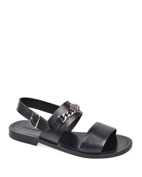 Roberto Cavalli Men's Leather Strap Sandals w/ Metal Bit