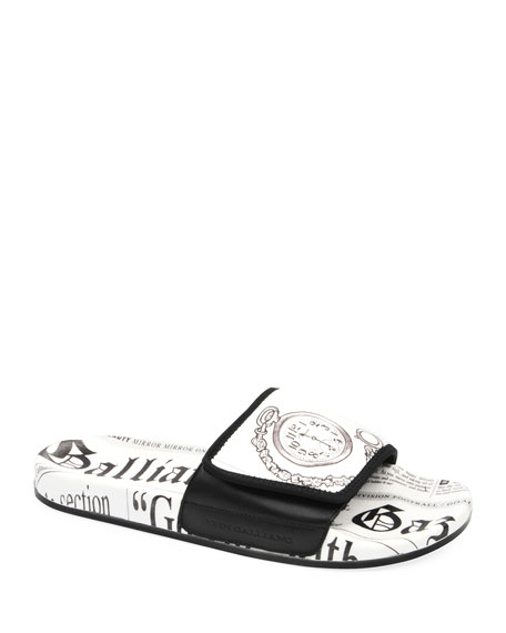 John Galliano Paris Men's Gazette Leather Pool Slide Sandals