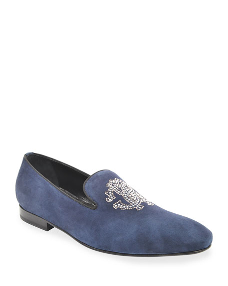 Roberto Cavalli Men's Suede Slip-Ons w/ Crystal Logo Embroidery