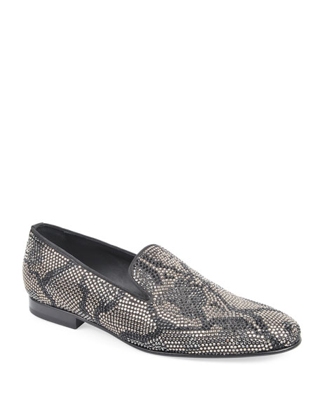 Roberto Cavalli Men's Crystal-Covered Leather Loafers