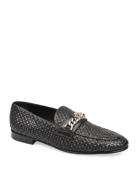 Roberto Cavalli Men's Woven Leather Slip-On Loafers
