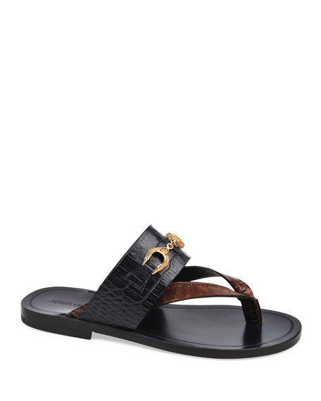 Roberto Cavalli Men's Croco Embossed Thong Sandals
