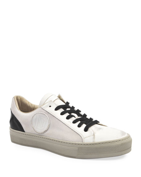 Costume National Men's Mesh & Two-Tone Leather Logo Sneakers