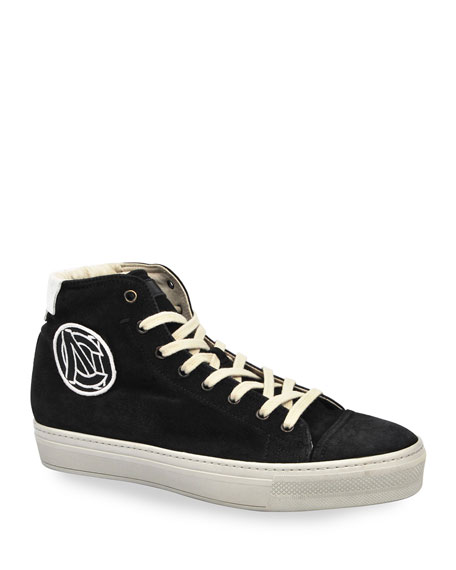 Costume National Men's High-Top Suede Sneakers w/ Embroidered Logo