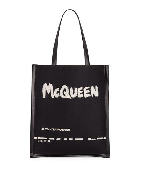 Alexander McQueen Men's Graffiti Logo Tote Bag