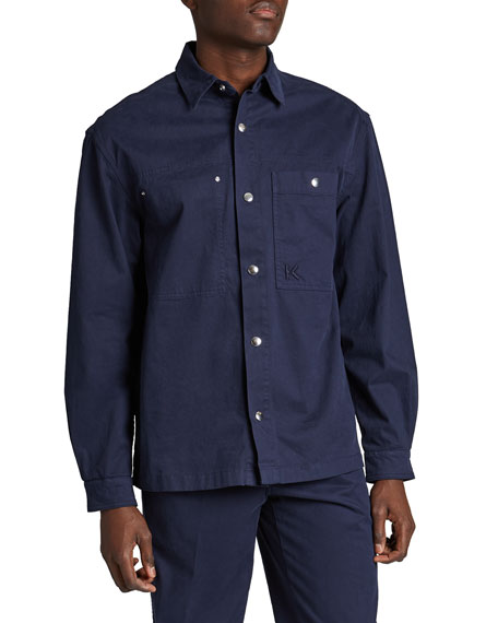 Kenzo Men's Solid Snap-Button Overshirt