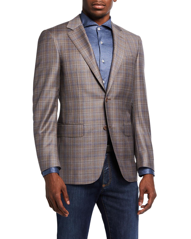 Men's Plaid 130s Wool Sport Jacket