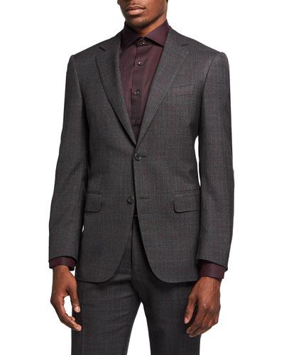 Men's Impeccable Plaid Wool Two-Piece Suit