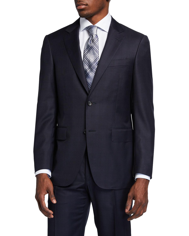 Men's Tonal Plaid 150s Wool Two-Piece Suit