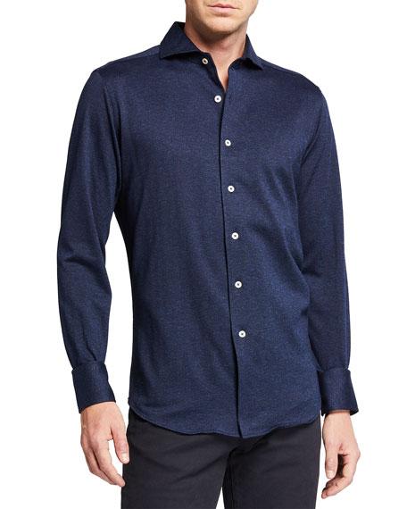 Canali Men's Solid Herringbone Sport Shirt