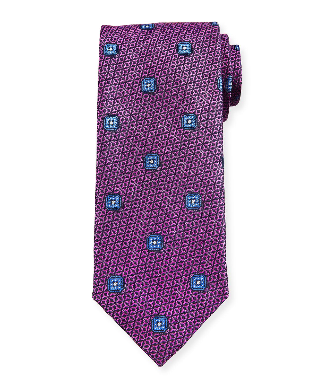 Men's Textured Boxes Silk Tie