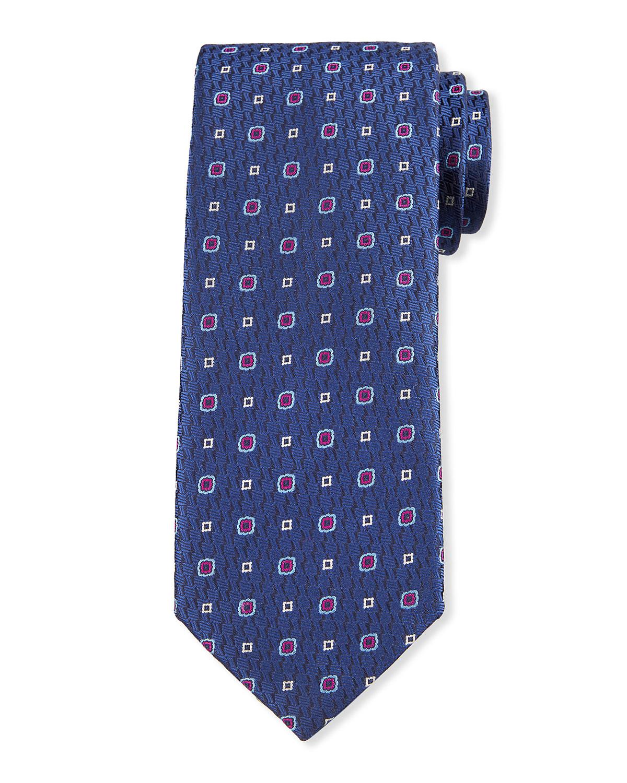 Men's Alternating Small Boxes Silk Tie