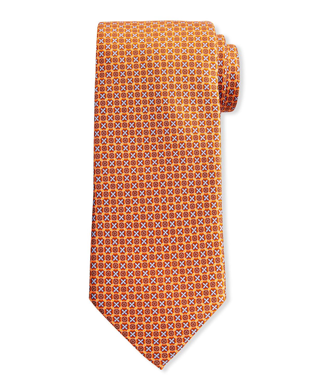 Men's Small Medallion-Print Silk Tie