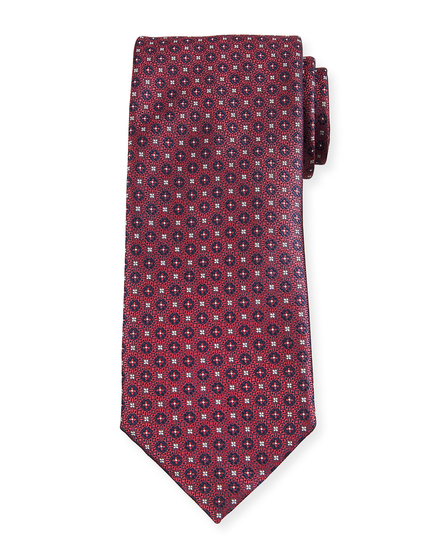 Men's Small Woven Flower Silk Tie