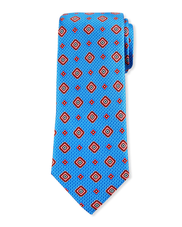 Men's Medium Medallion-Print Silk Tie