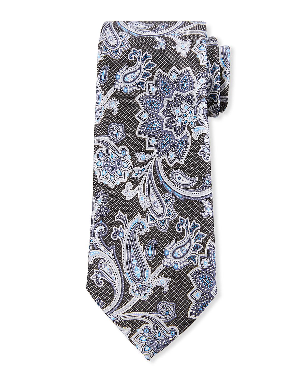Men's Macro Paisley-Print Silk Tie