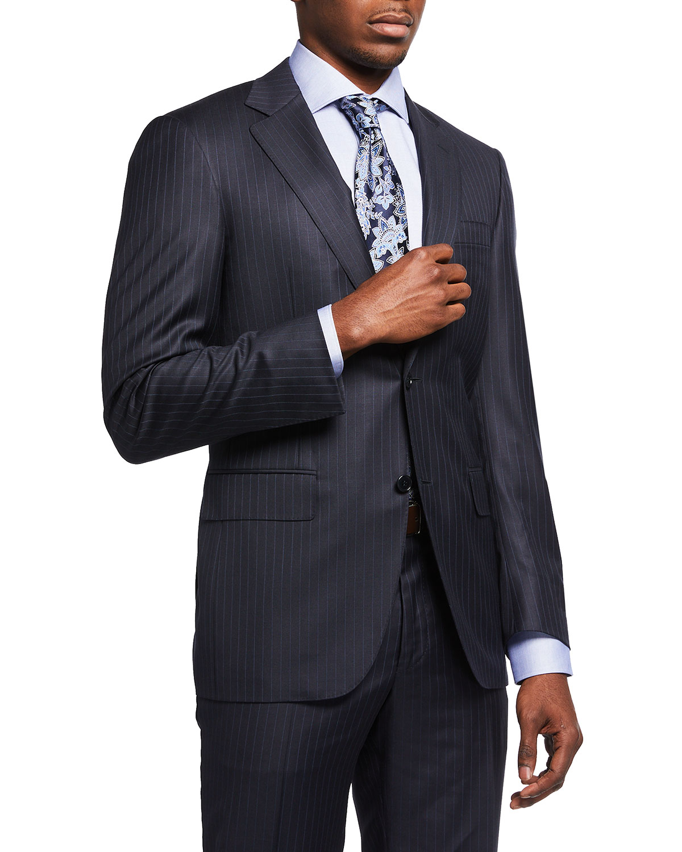 Men's Tonal Pinstripe 130s Wool Two-Piece Suit