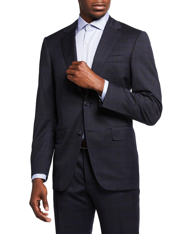 Men's Tonal Plaid Wool Two-Piece Suit